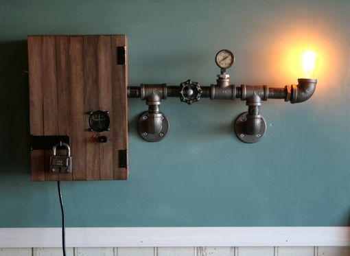 Custom Made Vintage Industrial Wall Lamp