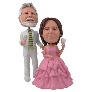 Custom Made Personalized Wedding Cake Topper Of A Couple With Pink Gown