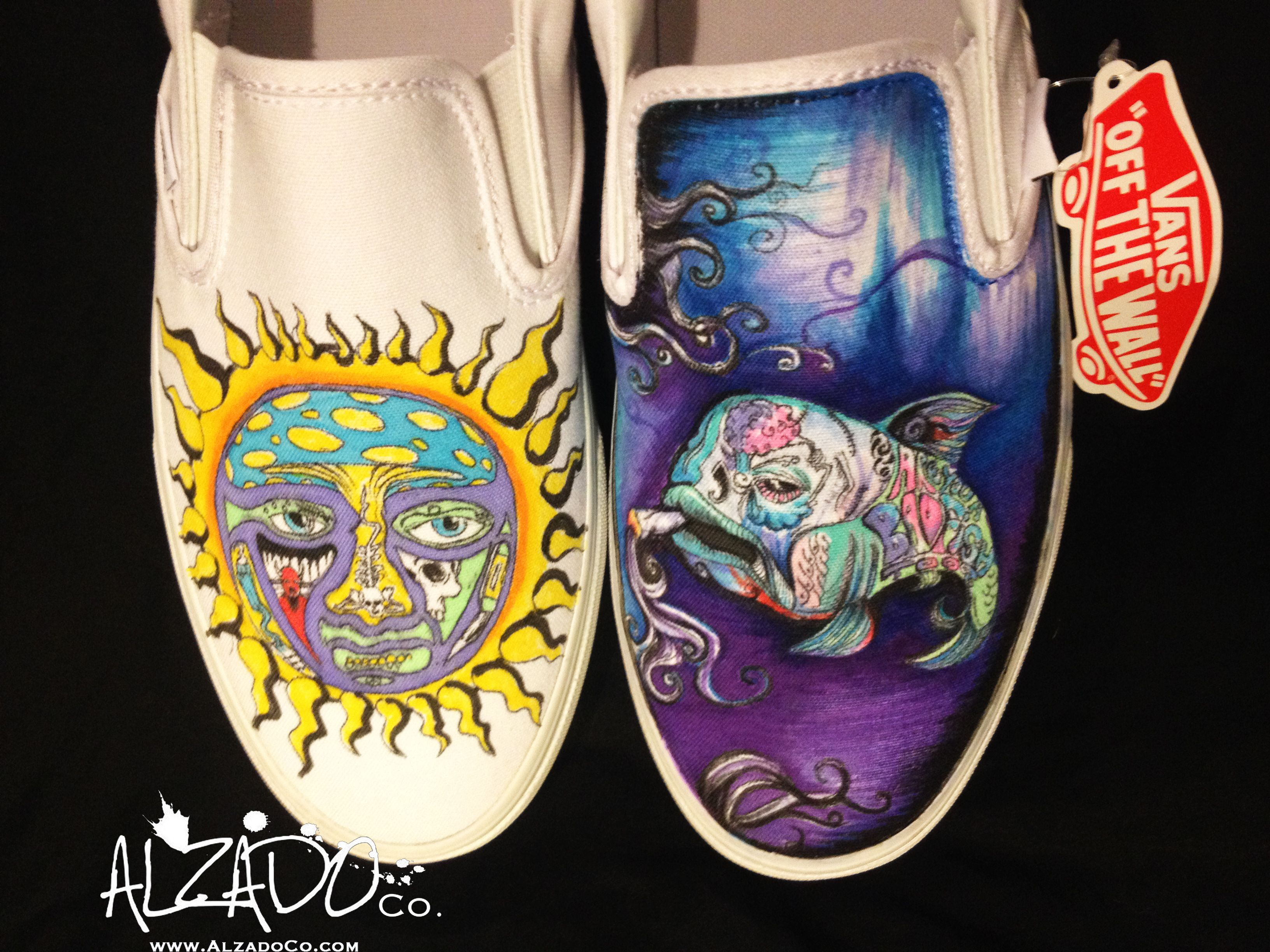 Buy Hand Made Hand Drawn Sublime Custom Shoes, Made To