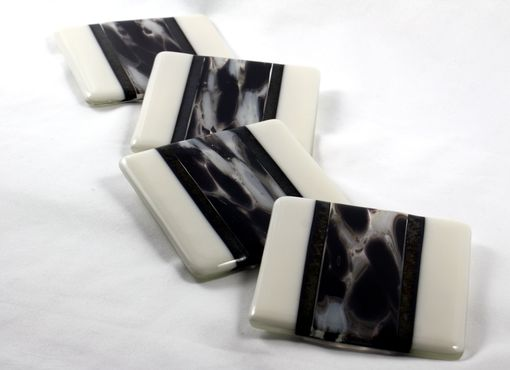 Custom Made 4-Piece Clairette Fused Glass Coasters