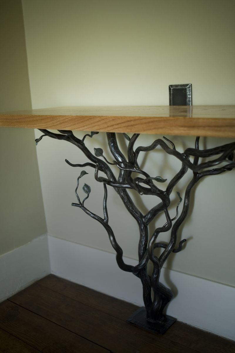 hand made hand forged tree hall table by smith works co