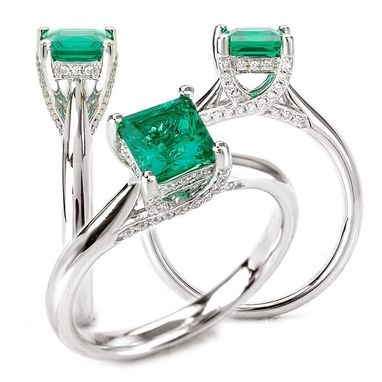 Custom Made 18k Cultured 5.5mm Princess Cut Emerald Engagement Ring With Natural Diamond Trellis