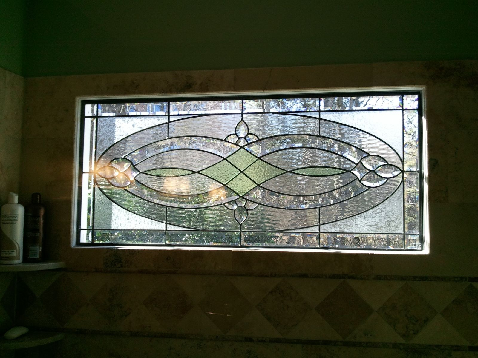 Hand made stained glass shower window by the looking glass for Decorative stained glass windows