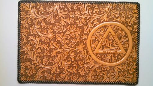 Custom Made Fully Hand Carved Leather Cover For Alcoholichs Anonymous