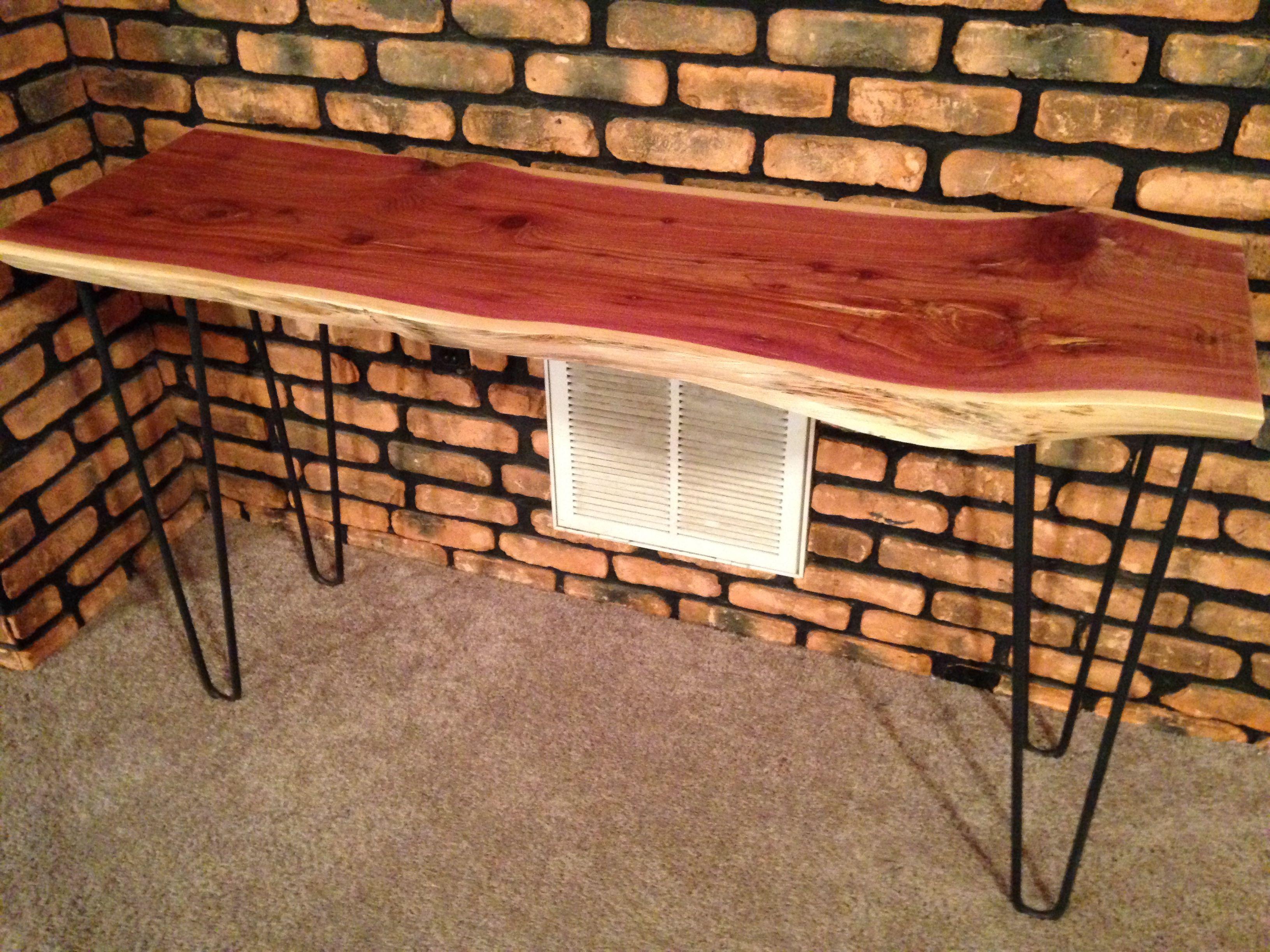 Buy handmade live edge cedar sofaconsole table with hairpin legs custom made live edge cedar sofaconsole table with hairpin legs geotapseo Choice Image