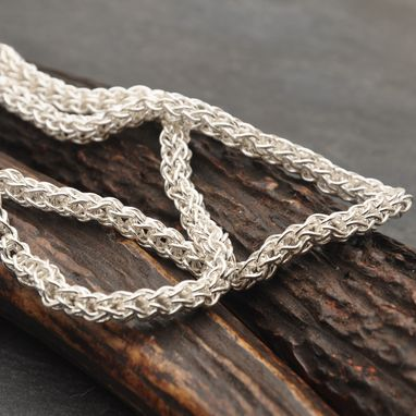 Custom Made Fused Fine Silver Loop In Loop Necklace With End Caps