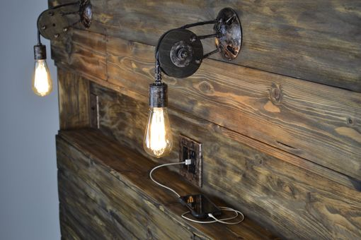Custom Made Custom Industrial Contemporary Rustic Metal Wood Led Incandescent Sconce Light Design