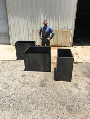 Custom Made Custom Large Corten Planters For Brooklyn, Ny Brownstone