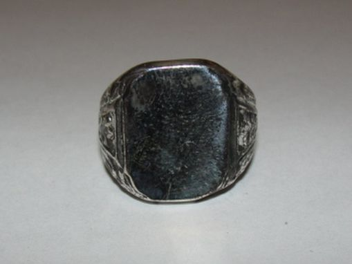 Custom Made Large Square Shaped Antiqued Sterling Silver Signet Ring
