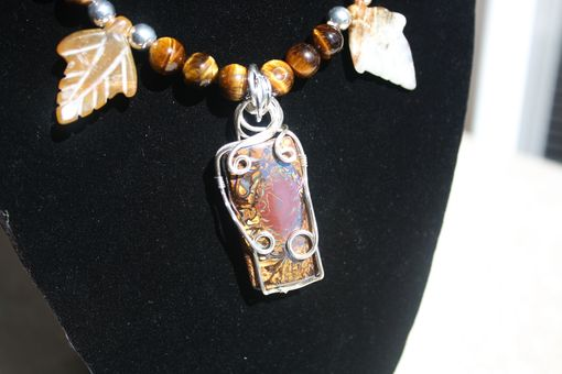 Custom Made 45.15 Ct Koroit Matrix Boulder Opal, Silver Wire Wrapped Pendant On Tiger's Eye Necklace