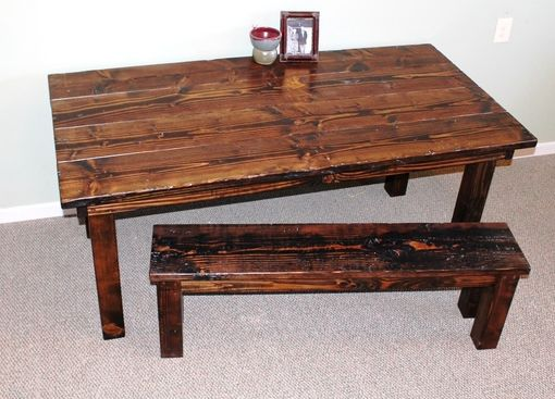 Custom Made Authentic Farmhouse Dining Room Table In Dark Walnut Stain.