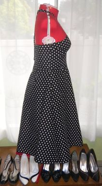 Custom Made Custom Couture 1950s Black And White Polka Dot Swing Dress Made To Fit You Any Size Any Color