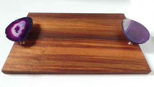 Custom Made Rosewood And Agate Serving Board