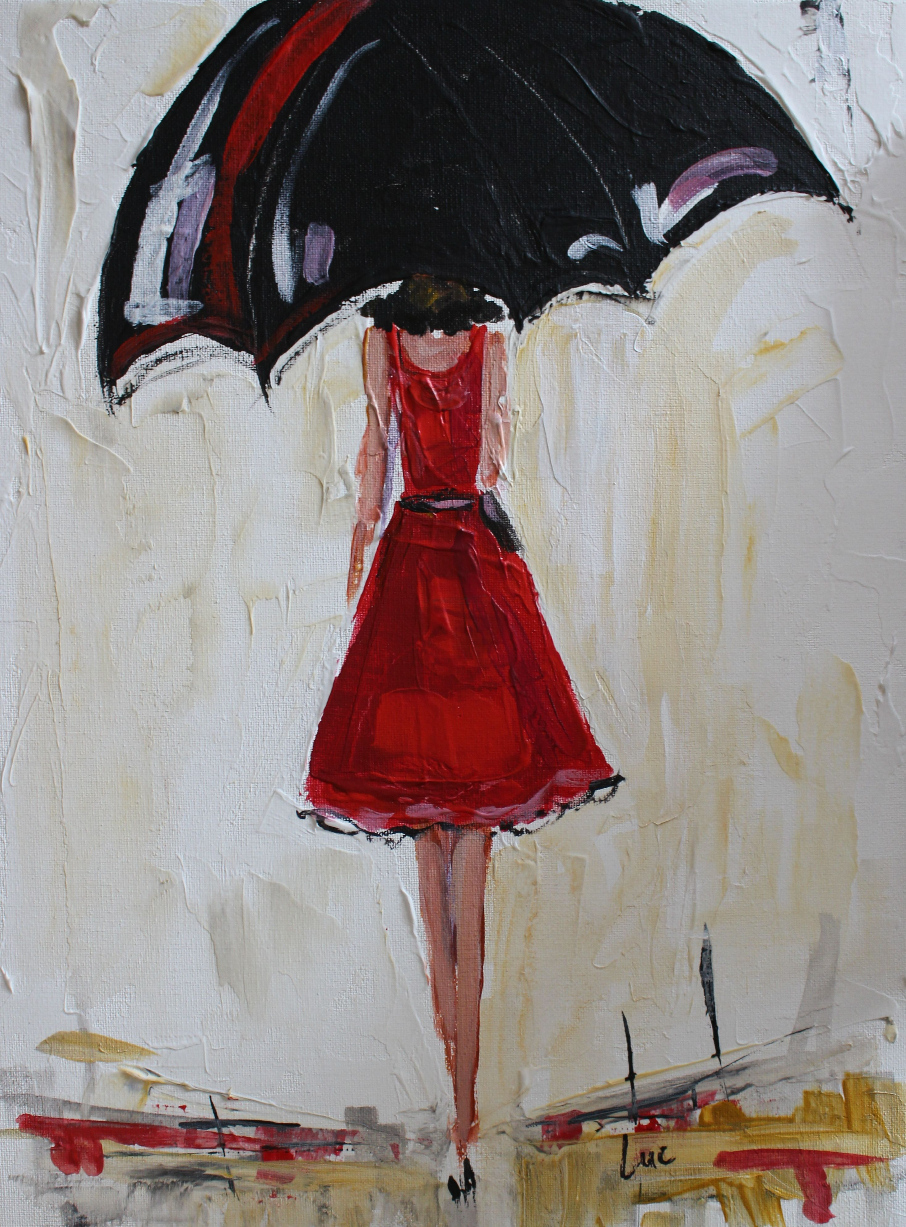 Buy a custom made umbrella girl in red acrylic painting for Painting red umbrella