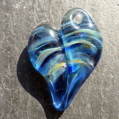 Custom Made Blue Hand-Blown Lampwork Glass Heart Pendant With Silver Leaf
