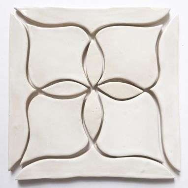 "Custom Made 1 Stoneware Tile, 8"" Four Point Flower"