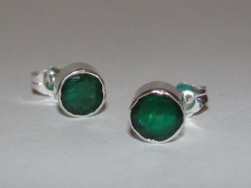 Custom Made Sterling Silver Faceted Emerald Bezel Set Earrings Birthstone May