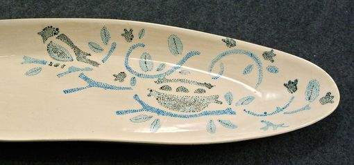 Custom Made Oblong Plate Hand Decorated Bird And Nest
