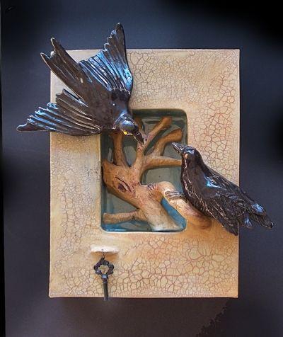 Custom Made Ceramic Wall Hanging Shadow Box Of 2 Ravens And Tree