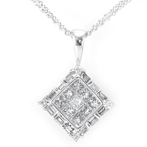 Custom Made Round Princess And Baguette Diamond Pendant In 14k White Gold, Ladies Pendant, Diamond Pendant