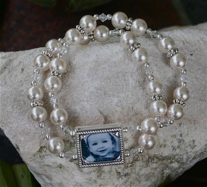 Custom Made Wedding Photo Frame Bracelet With Swarovski Pearls And Crystal Bicones