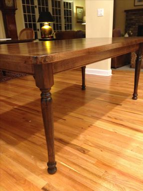 Custom Made Solid Maple Farmhouse Dining Table With Turned Legs