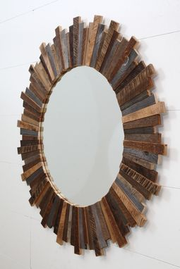 Custom Made Sunburst Mirror Made Of Old Reclaimed Barnwood