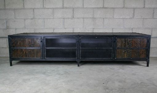 Modern Dark Wood Credenza : Buy a hand made rustic media console credenza vintage industrial
