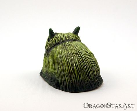 Custom Made Green Clay Monster Sculpture, Hairy Mossy Beast Painted Sculpture