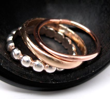 Custom Made Triple Stack - Set Of Three Stacking Rings In Sterling Silver, 14k Gold Fill And Copper