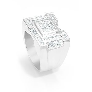 Custom Made Round And Princess Cut Diamond Men's Ring In 14k White Gold