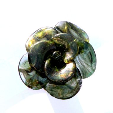 Custom Made Wine Bottle Stopper Glass Rose Green, Hand Blown Rose, Lampwork Sra Rose, Flower Stainless Steel