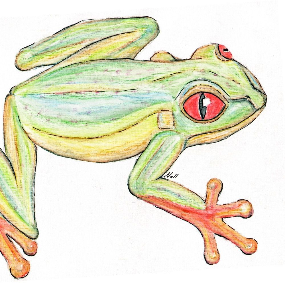 Handmade Art Print With Original Tree Frog Watercolor Painting by ...