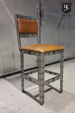 "Custom Made Custom 24"" Industrial Bar Stools With Upholstered Back"