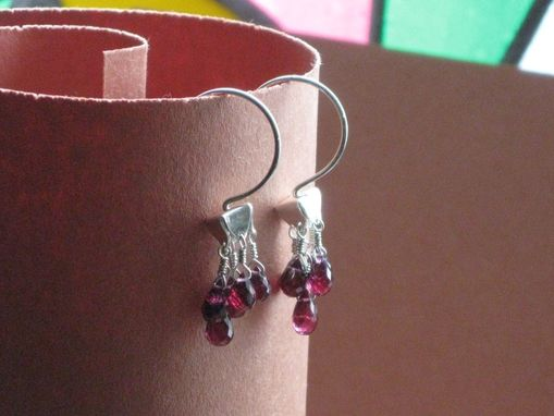 Custom Made Sale Sterling Silver Pyramid Tassle Hoop Rhodolite