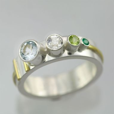 Custom Made 4 Stone Sequence Mother Ring 14ky, Ss