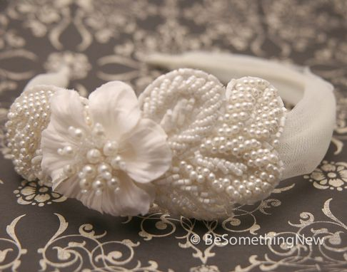 Custom Made Ivory Wedding Headband With Pearl Trim, Wedding Hair
