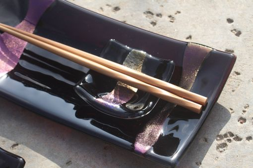 Custom Made Purlple And Black Glass Sushi Set For Two