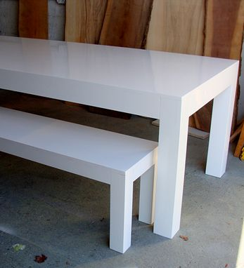 Custom Made Modern White Parsons Table And Bench Dining Set High Gloss