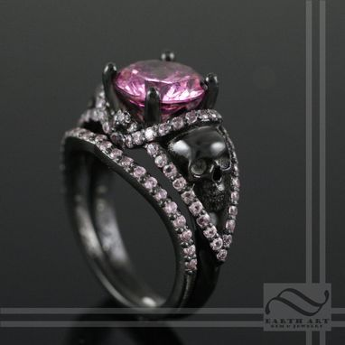 Custom Made Skull Ring Set With Pink Cz And Black Ceramic