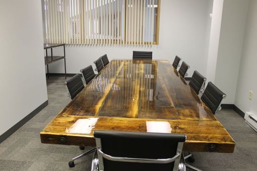 Hand Crafted X Reclaimed Conference Table With Steel I Beam - 10 x 4 conference table