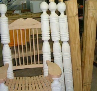 Custom Made Large Oak Rocking Chairs