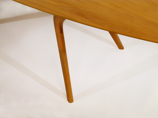 Custom Made Modern Coffee Table, Boomerang Leg Design With Surfboard Top. Mid-Century, Danish Design Influence.