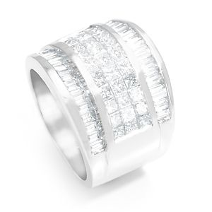 Custom Made Princess Cut And Baguette Diamond Wide Ring