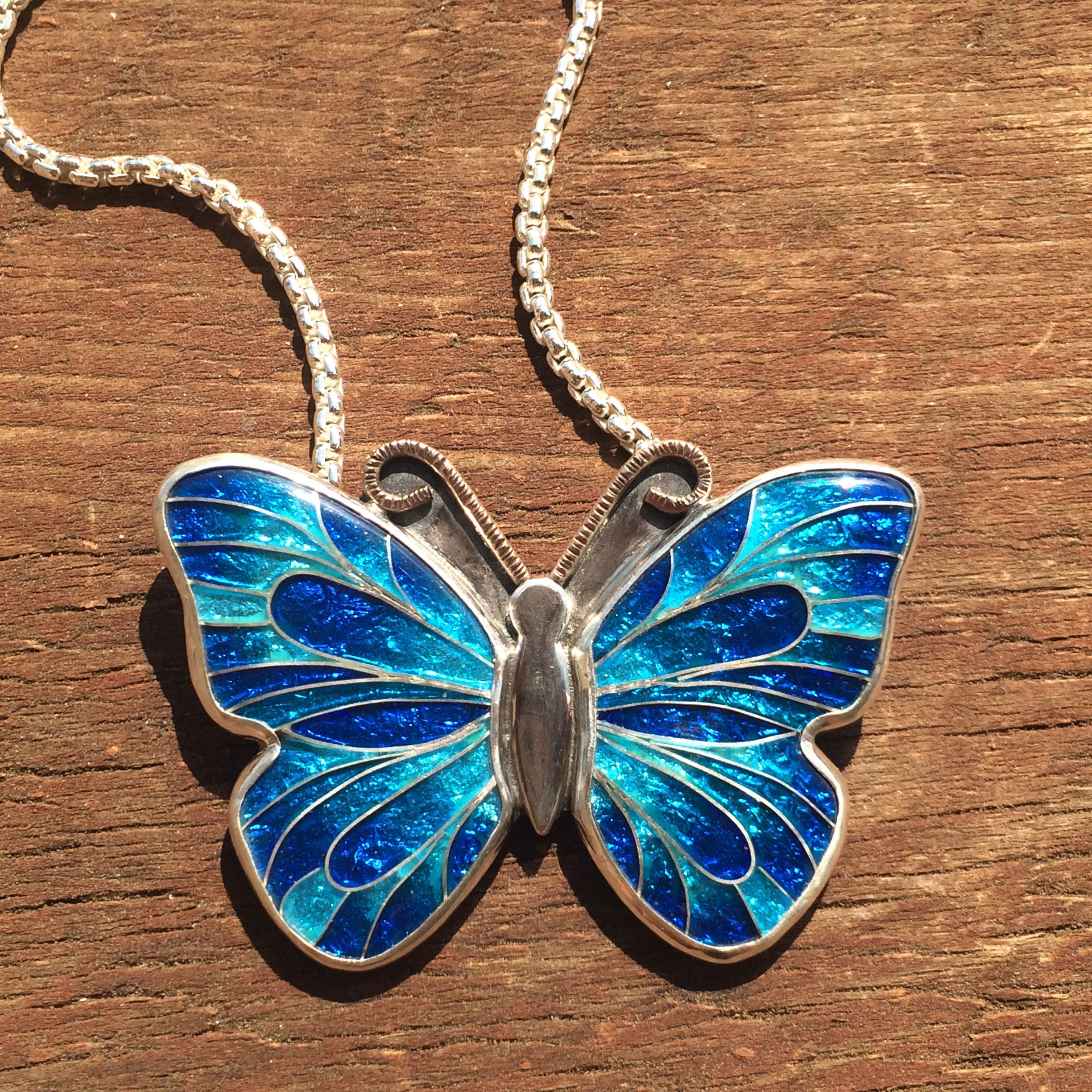 Hand Crafted Cloisonne Enamel Butterfly Necklace Blue