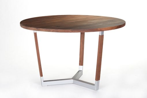 Custom Made Modern Industrial Walnut Round Dining Table