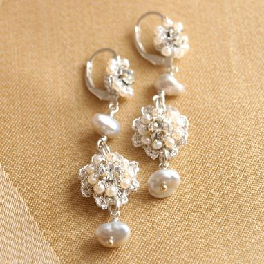 Custom Made Baby's Breath Earrings | Silver Floral Lace Drop Earrings With Pearls
