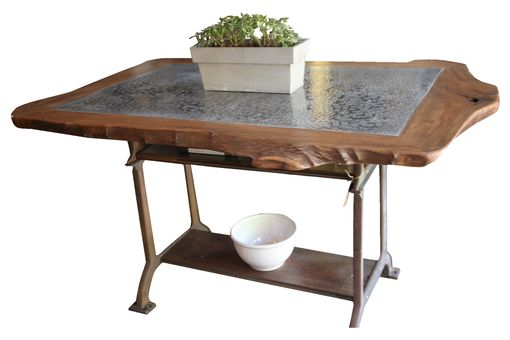 Custom Made Stunning Live Edge Sycamore And Hammered Zinc Table