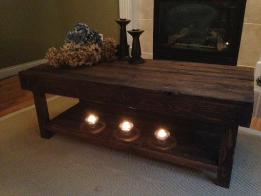 Custom Made Dark Walnut Coffee Table With Lower Shelf