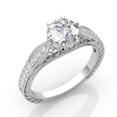 Custom Made Vintage Inspired Diamond Engagement Ring With Filigree And Engraving